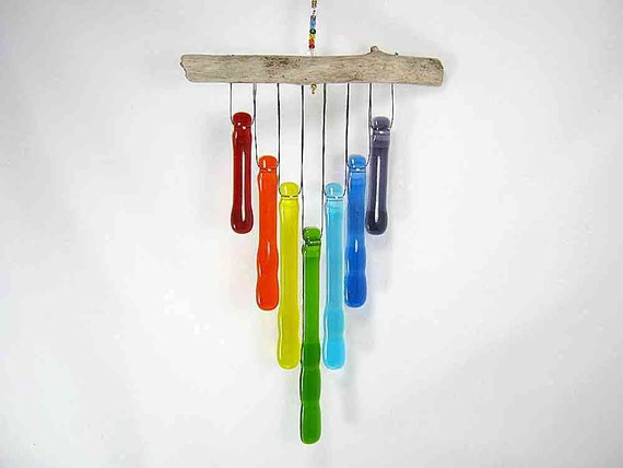 Rainbow Glass Wind Chime with Oregon Driftwood              AG27