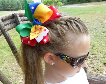 Monogram School Hair Bow, Monogrammed Large, Gift Idea, Primary Colors, School Rocks, Kindergarten Bow, Unique Ribbon, 1st Grade, 2nd 3rd