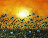 Blue Poppy Outsider ACEO Folk Art PRINT of Todd Young painting
