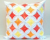 35% Off Pillow Cover Throw Pillow Orange Yellow Batik Cathedral Window 18 Inch