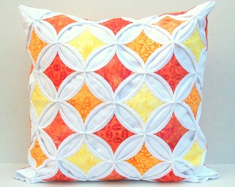 30% Off Pillow Cover Throw Pillow Orange Yellow Batik Cathedral Window 18 Inch