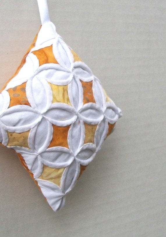 Christmas Ornament Holiday Ornament Gold Batik Miniature Cathedral Window Pillow - 4 Inches