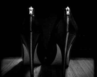 stitch, 10x10 stiletto art photography print, black and white photographic reproduction of ladies high heels with shadows, shoe fetish