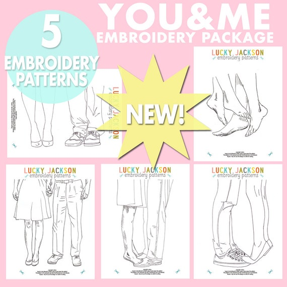 You and Me Embroidery Pattern Package