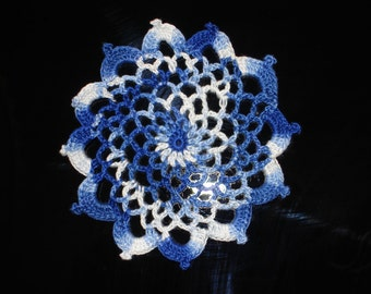 """New Handmade Crocheted """"83"""" Coaster/Doily in Shaded Blues"""