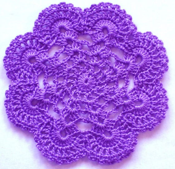 """New Handmade Crocheted """"Eight Shells"""" Coaster/Doily in Lilac"""