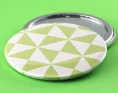 Geometric Pocket Mirror - Triangles - Green