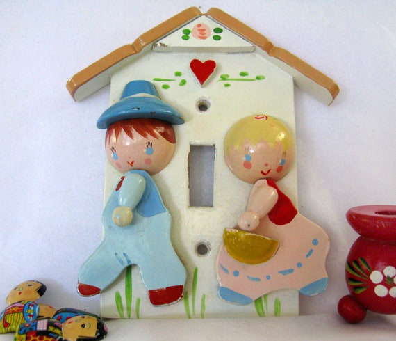 Made in Italy cottage wooden switch plate cover