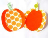 Orange Pumpkins Medium - Set of 2 - Polka Dot - Iron On Applique - No Sew -  Patch - Transfer - Amy Butler Lotus Fabric Tangerine