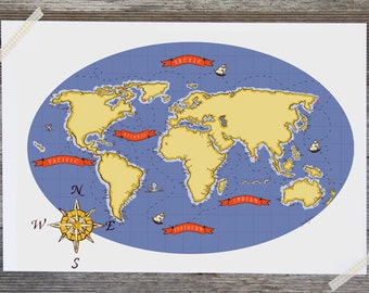 Children's Wall Art Print - Nautical Map (Blue) - Kids Nursery Room Decor
