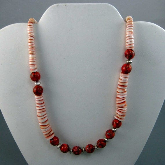 Ladies Orange Necklace Graduated Lip Shell with Czech Glass Coral Beads