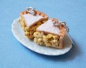 Apple pie earrings, Apple Pie Slice - Dangle Earrings, polymer clay apple pie, jewelry food, clay pie earrings, fake food, polymer clay pie