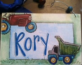 Hand personalized tractor and dumptruck sign