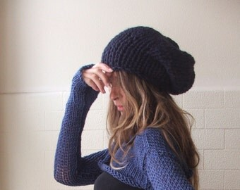 Blue hat, slouchy Blue Beanie hat,  Navy blue hat,  deep Blue chunky hand knit hat READY TO SHIP