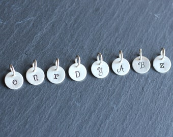 Tiny Initial Charms, Hand Stamped Letter or Picture Charms, Personalized Charms