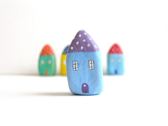 Little Home No 202 - Litle clay house purple and blue with polka dots