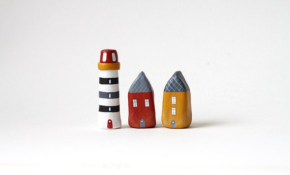 RESERVED for Annalisa - Two little houses and a lighthouse