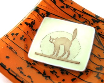 Scaredy Cat - Bright Orange and Streaky Black Fused Glass Dish - Candy Dish - Orange and Black