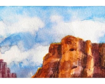 Western Landscape Painting, Tiny Watercolor Art, Red Mesa, Flat-tops, Mountains, ACEO original, watercolor art, Mary Hamilton at DreamON