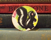 Round Wooden Skunk Brooch with Vintage Book Illustration - Wood Skunk Pin - Flower the Skunk From Bambi -  Skunk Badge