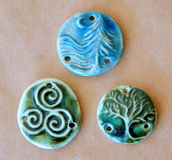 3 Ceramic Link Beads - 3 Holed Connector Beads - Handmade Tree of Life, Cedar and Triskele Link Beads