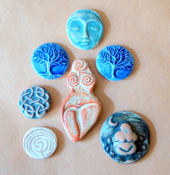 7 Ceramic Mosaic tiles - Goddess and Celtic Cabochones