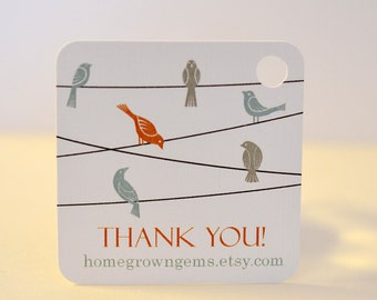 Birds on Wire Thank You Tags Packaging Orange Blue Customized Personalized