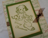 Puppy Christmas Card / Greeting Handmade Merry Christms