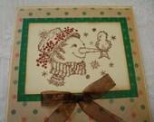 Snowman and Friend Christmas Card / Greeting Handmade Christmas Holiday Card