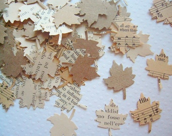 Vintage Wedding - Autumn Leaves Vintage Paper Confetti wedding decor kraft