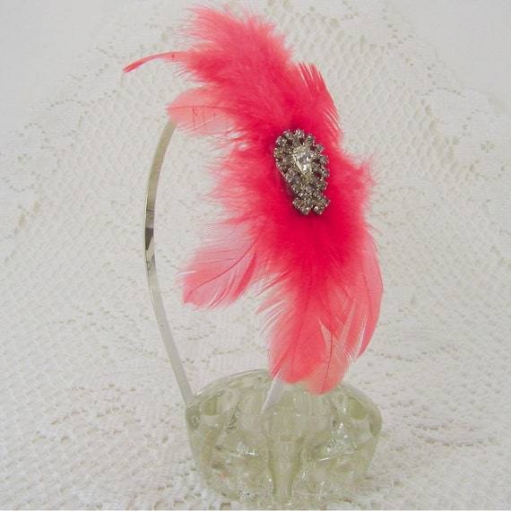 Halloween Fascinator  Flapper Headband Coral Feather Red Burlesque Hair Accessory Costume