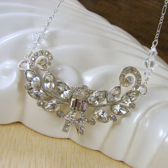 Wedding Jewelry Rhinestone Necklace Crystals Sterling Wire Wrapped Vintage OOAK