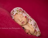 Swaddle Me - Baby Rose Lace Wrap - Rose Print Stretch Fabric Wrap, Newborn Photography Prop