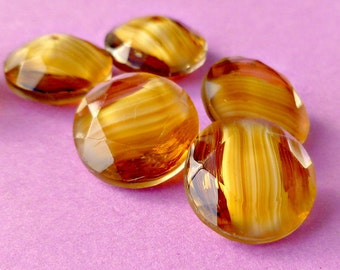 Six Vintage 14.5mm (60ss) Topaz Givre Glass Jewels (20-3F-6)