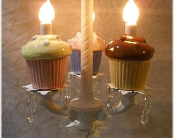 Cupcake Chandelier in White Cupcake Lighting Cupcake Home Decor Bakery Designs Dessert Decor Nursery Lighting