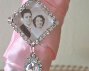 Wedding Bouquet Photo Charm, Bridal Bouquet Charm, Swarovski Crystal Memory Photo Charm
