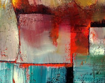 "Abstract Oil Painting, Red, Blue, Art, ""Moments In Life"" Original Contemporary Modern  mixed media OIL art by Kathy Morton Stanion EBSQ"