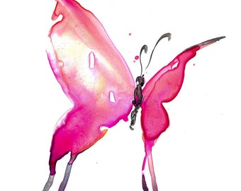 "Pink Butterfly Painting, Abstract Butterfly Art, Original abstract watercolor painting ""Butterfly Song 10"" by Kathy Morton Stanion  EBSQ"