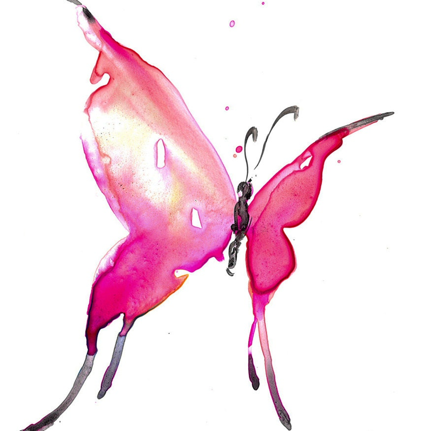 Pink Butterfly Painting Abstract Butterfly Art Original