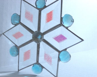 Stained Glass Star, Blue Star, Christmas Ornament, Holiday Decoration, Dichroic Bevel