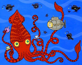 "Giant Squid Bunny Submarine Art Print Deep Sea Tea 11"" x 14"""