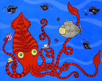 "Giant Squid Bunny Submarine Art Print Deep Sea Tea 11"" x 14"""
