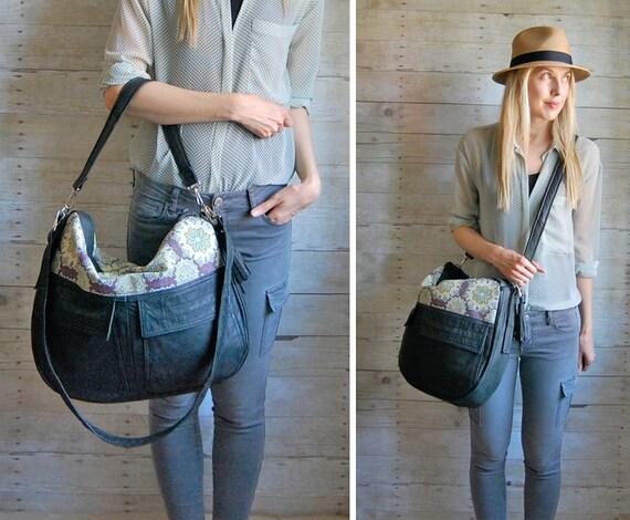 SALE ///  TUNDRA /// black leather handbag with purple pattern