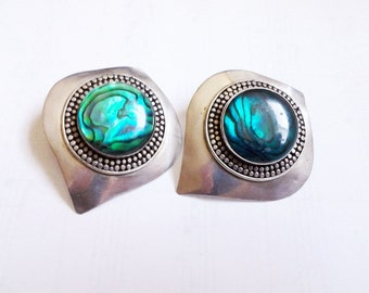 HUGE sterling silver Hand Crafted disk earrings 925 Abalone Coral Turquoise stone BIG