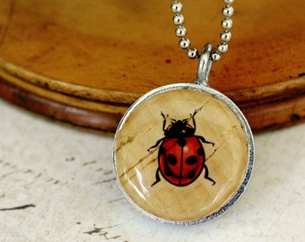 Ladybug Necklace - Ladybug Jewelry, Recycled Wine Cork Necklace, Recycled Steel Jewelry, Black Beads, Beaded Necklace, Upcycled  - Uncorked