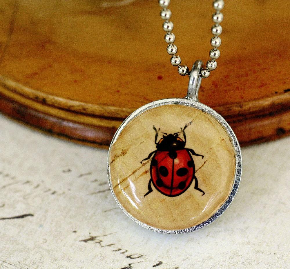 Cork Jewelry: Ladybug Necklace Ladybug Jewelry Recycled Wine Cork