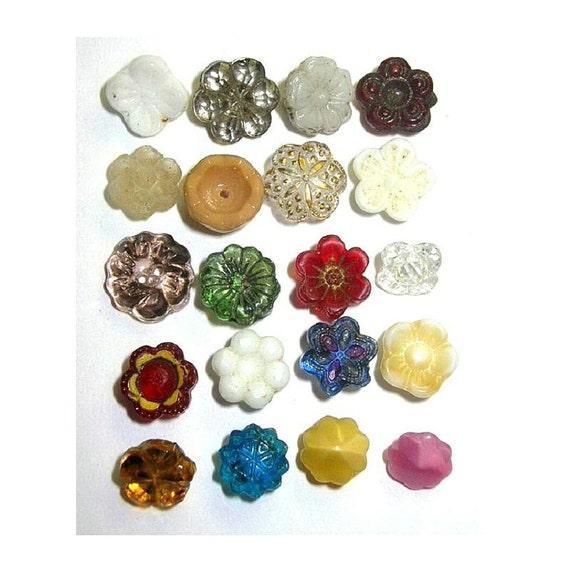 Antique Glass Flower Buttons x20 NBS Diminutive TREASURY ITEM