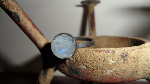 Rose Cut Rainbow Moonstone and Sterling Silver Ring - Custom Order - Sizes 4 to 12