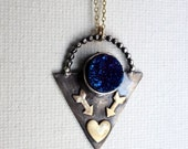 Handmade Abstract Blue Drusy Pendant with Arrows and Heart