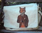 Fox Bag - The Dapper Fox Messenger Bag - Women's or Men's Messenger Bag - Fox Art - Gift for him - Shoulder Bag
